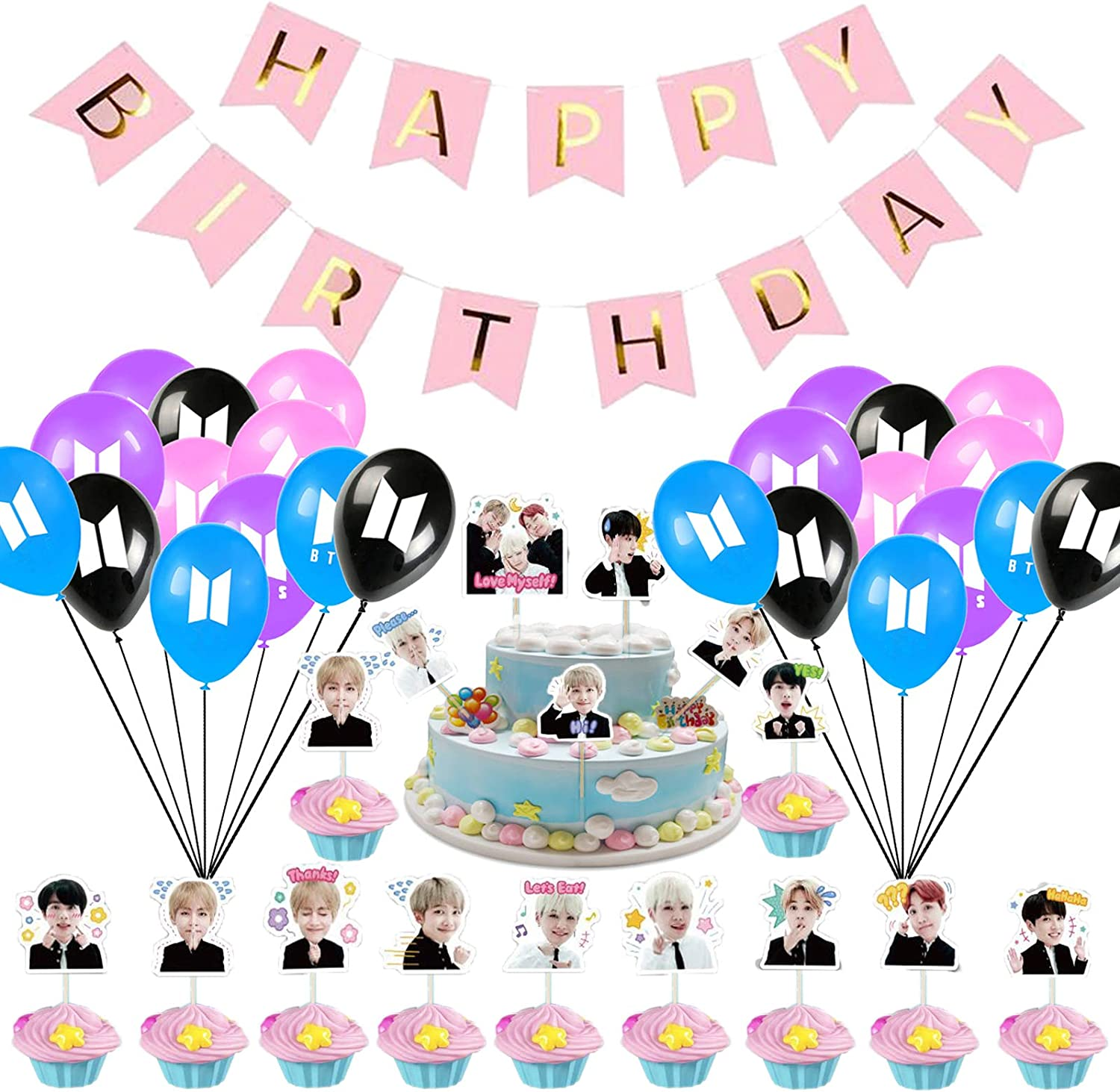 BTS Party Supplies Balloons Birthday Decoration Party for Girl