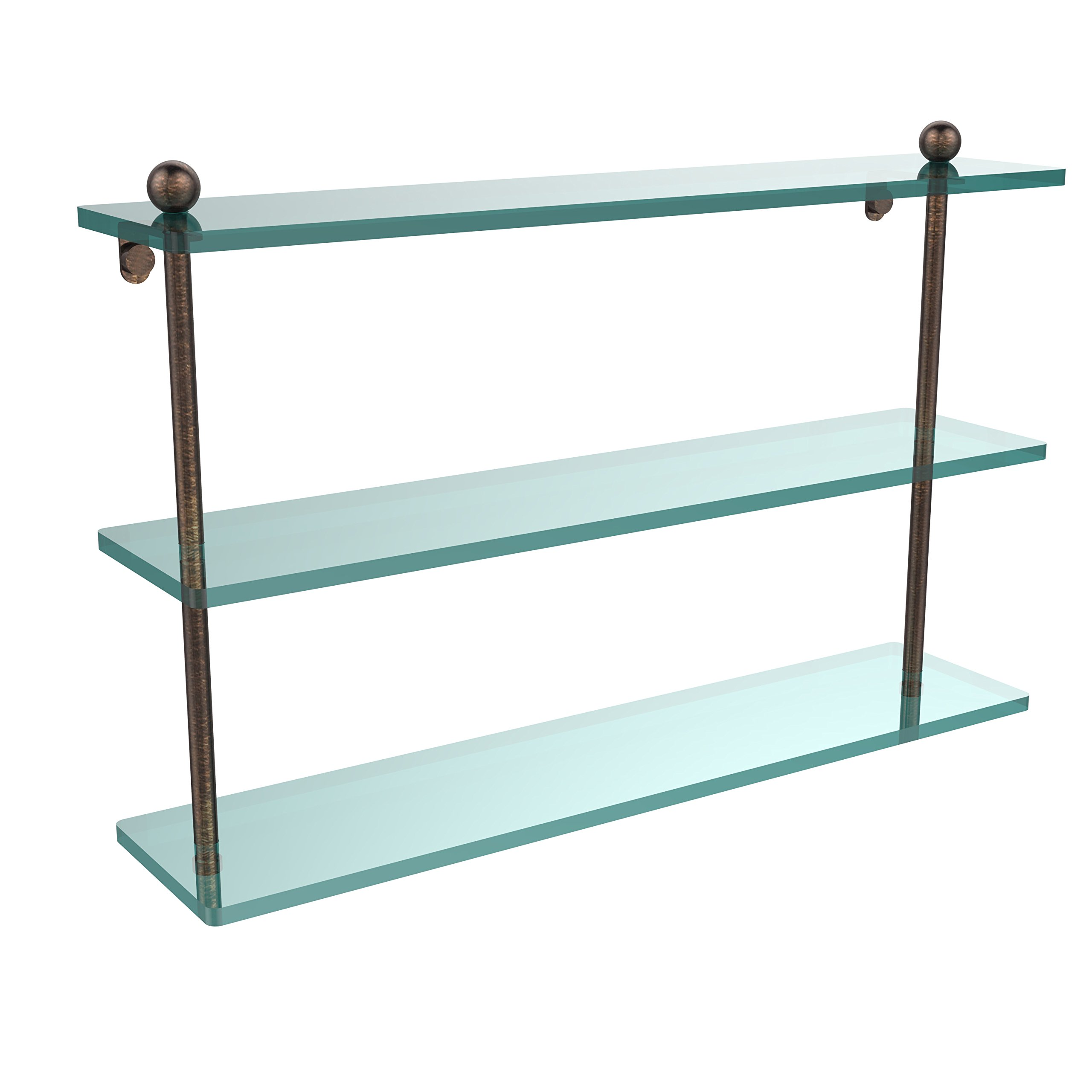 Allied Brass PR-5/22-VB 22'' Triple Glass Shelf Venetian Bronze by Allied Brass