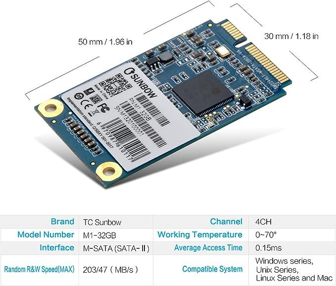 TCSUNBOW mSATA Mini PCIe 8 GB 16 GB 32 GB M1 Series SSD Solid ...