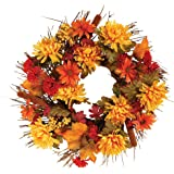 "OakRidge Fall Mum Wreath, 18"" Diameter, Silk Floral Autumn Home Décor for Indoor/Outdoor Use"
