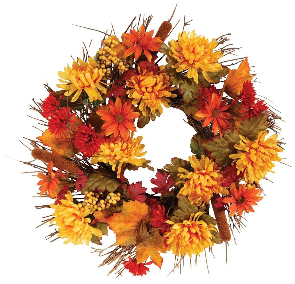 """silk flower arrangements oakridge fall mum wreath, 18"""" diameter, silk floral autumn home décor for indoor/outdoor use"""