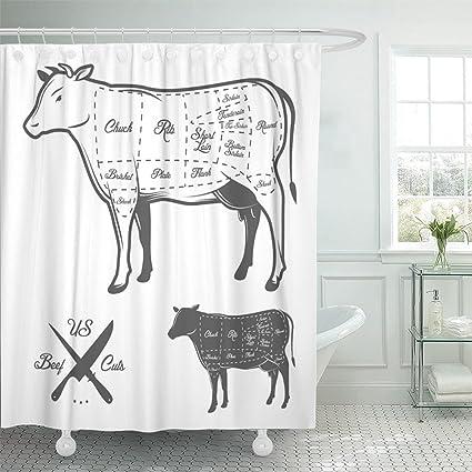 Amazon Emvency Shower Curtain Waterproof Cow American Cuts Of