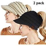 ZOORON Beanie Winter Hats for Women,Warm Stretch Cable Knit Beanie,High Bun Ponytail Beanie Hat