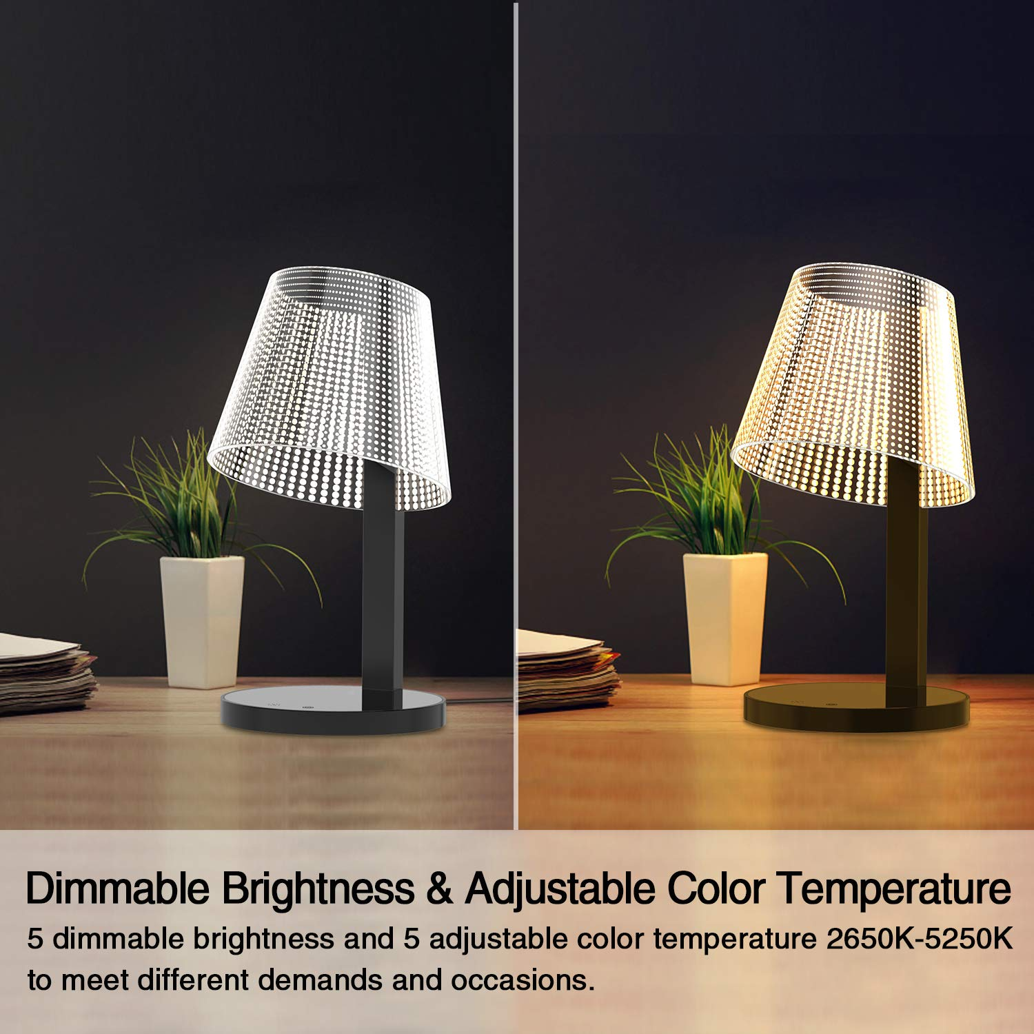 LED Table Lamp, Above Lights 7W Office Dimmable Desk Light with 10W Wireless Charger, Infrared Switch, Hidden Light Source, 5 Colors & Brightness, and USB Charging Port- Reddot Design Award by Above Lights (Image #5)