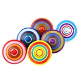 Trottola in Legno Mini trottola in legno multicolore Mini Giroscopio in Legno Colorati Artigianali Set Per Bambini 3-7 Anni
