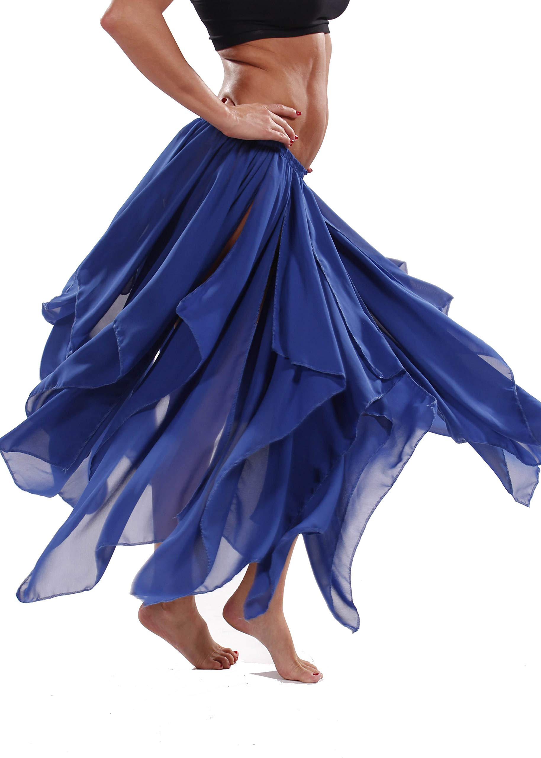 BELLY DANCE ACCESSORIES 13 PANEL CHIFFON SKIRT Royal One Size by Miss Belly Dance
