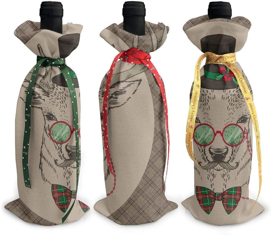 3 fundas para botellas de vino dibujadas a mano, con diseño de ciervos talla única Como se muestra en la imagen