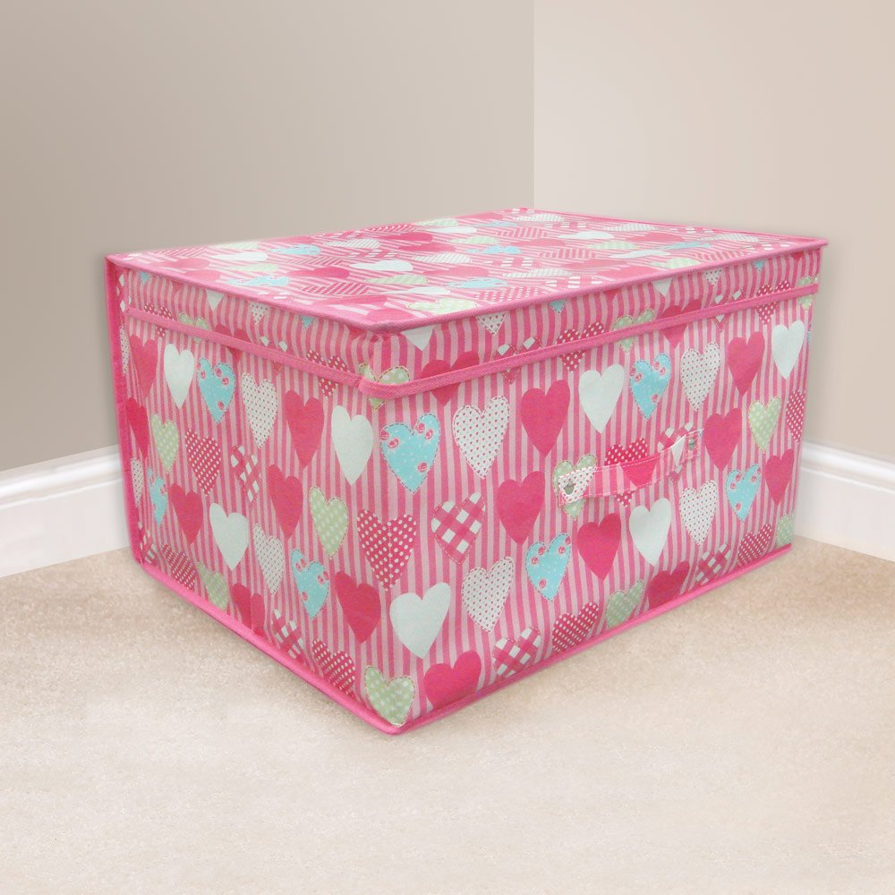 High Quality Folding Pink Hearts Kids Room Tidy Toy Storage Box with