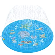 Tobeape Upgraded 68 inches Sprinkle and Splash Play Mat, Inflatable Outdoor Sprinkler Pad Water Toys for Children