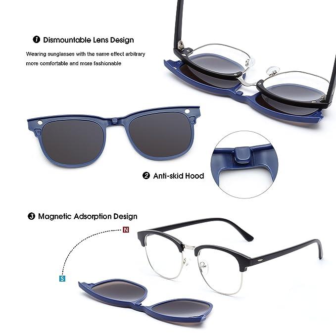 Magnético 5 Piezas Polarizadas Clip en Gafas de Sol Marco Plástico Para Conducción Nocturna
