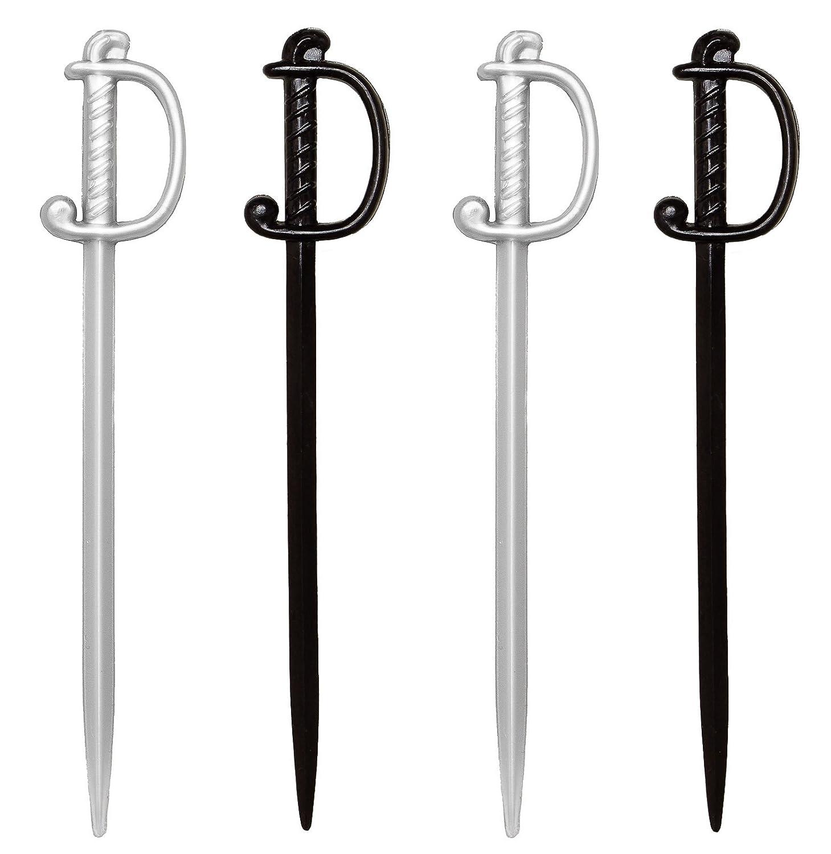 "Over The Hill Sword Picks, 100 Silver Black Cocktail & Food Toothpicks, 3"" Plastic Soodhalter Regal Swords"