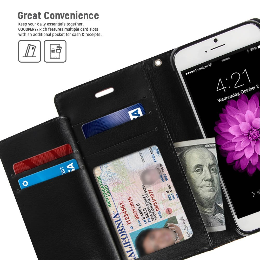 Iphone 6s Plus 6 Case Drop Protection Goospery Rich Diary 7 Blue Moon Flip Black Wallet Type Premium Soft Synthetic Leather Id Card Cash Slot Cover For Apple