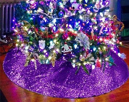 Shinybeauty Tree Skirt Christmas Purple 48 Inch Christmas Tree Skirt Purple Christmas Decor M1107