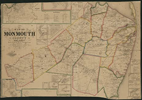 Amazoncom Vintage 1861 Map of Map of Monmouth County New Jersey