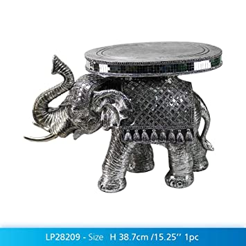 Ex Large Silver Art Ceremonial Elephant Table With Mirrored Mosaic Figurine