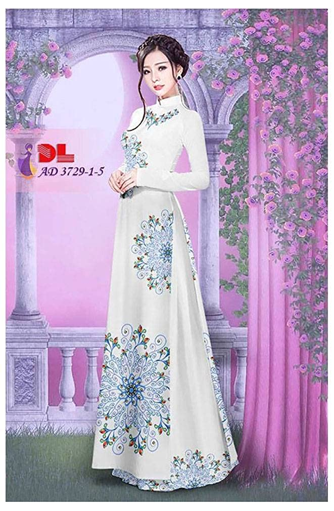Silk 3D Traditional Vietnamese Long Dress Collections with Pants Ao Dai All Size ADVN00656