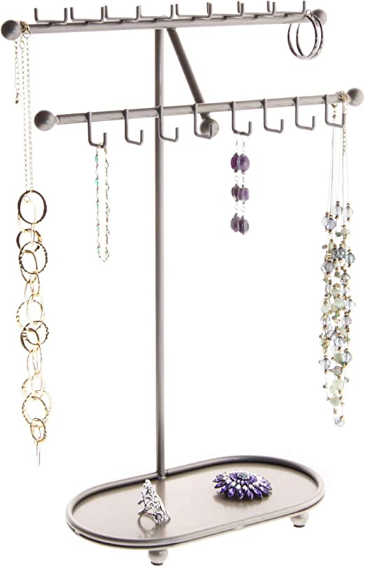 Amazon Com Angelynn S Necklace Holder Jewelry Organizer Display Stand Hanging Large Long Necklace Pendant Storage Rack Sharisa Satin Nickel Silver Home Kitchen