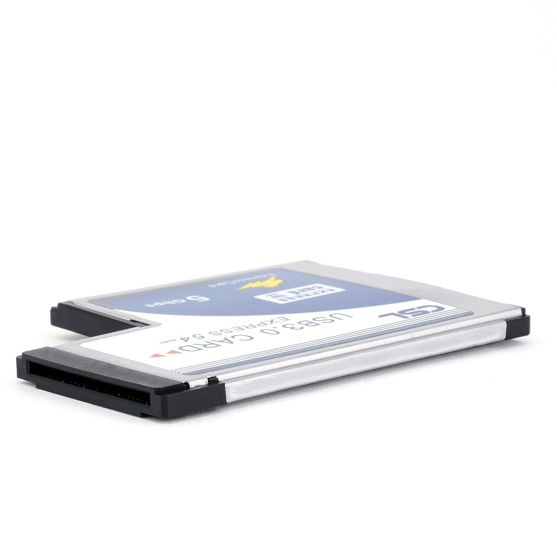 CSL - Tarjeta ExpressCard PCMCIA USB 3.0 Super Speed (54 mm / 2 puertos / compatible con Windows 10) para ordenadores portátiles | Distribuidor interno USB: ...