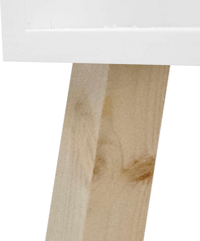 Decowood Table de Nuit ou Table dAppoint Rectangulaire en Bois de Sapin Aspect Peinture Beige 40x30x67cm