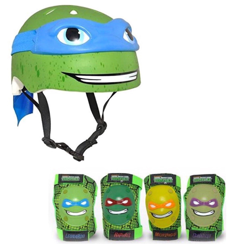 Teenage Mutant Ninja Turtles Leonardo Kids Bike Helmet and Pads - 5 Piece Set