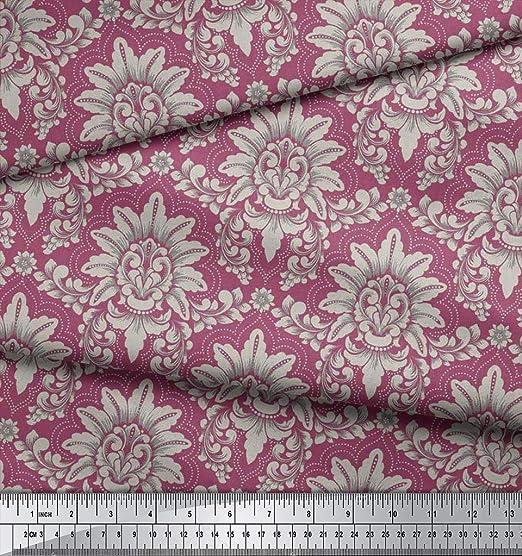 Soimoi 44 Zoll Breit Moss Georgette Blumendamast Printed Craft Fabric 130 Gsm Als Meterware Altrosa Küche Haushalt