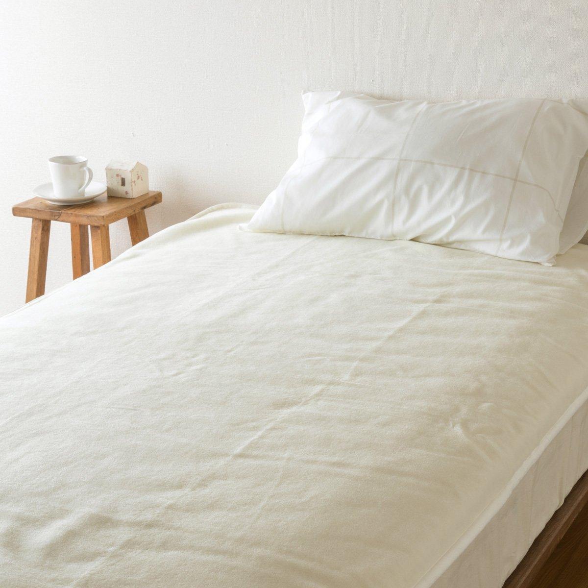 西川リビング ウール 敷き毛布 ダブルサイズ 吸湿 発熱 敷きパッド ウール100% 日本製 ベッドパッド 46999 アイボリー[72] B07KFR167Y