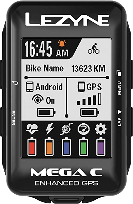 Black Lezyne Super GPS Loaded Cycling Computer with Heart Rate