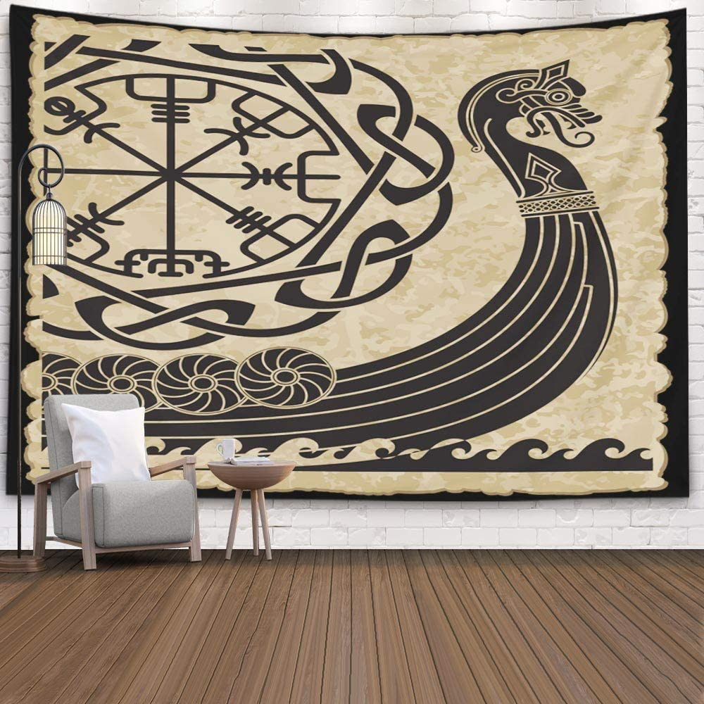 Wall Tapestry,Capsceoll 80x60 Inches of The Vikings Ancient Scandinavian Pattern And Norse Runes Isolated on White Drakkar Wall Hanging Tapestry for Decor Dorm Tapestry Living Home