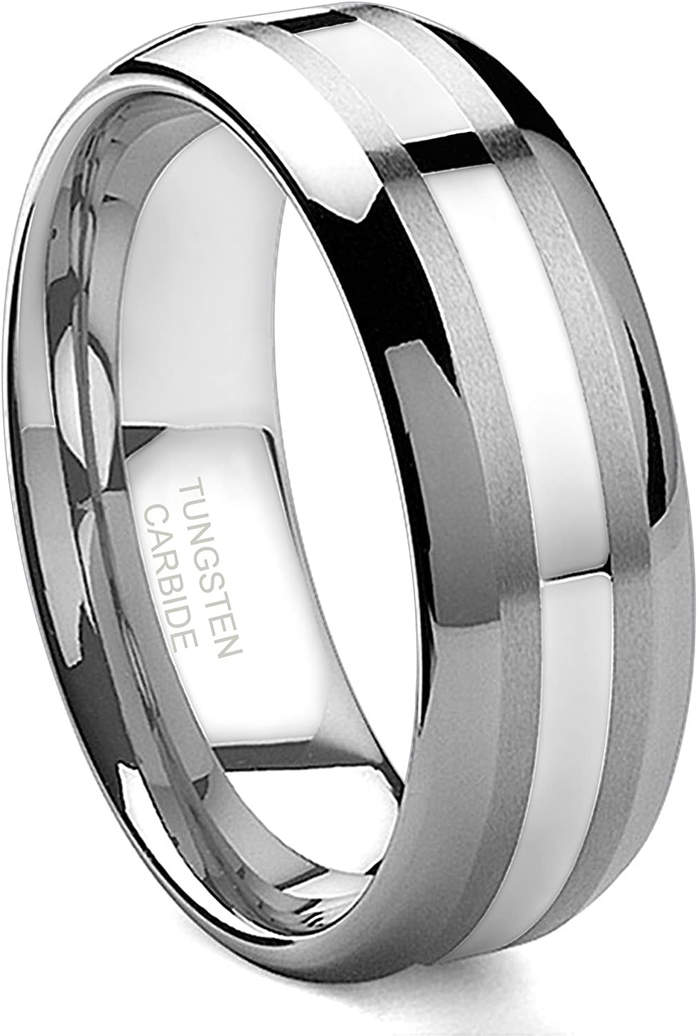 Hollywood Pro 8mm Tungsten Carbide 14k White Gold Inlay Wedding