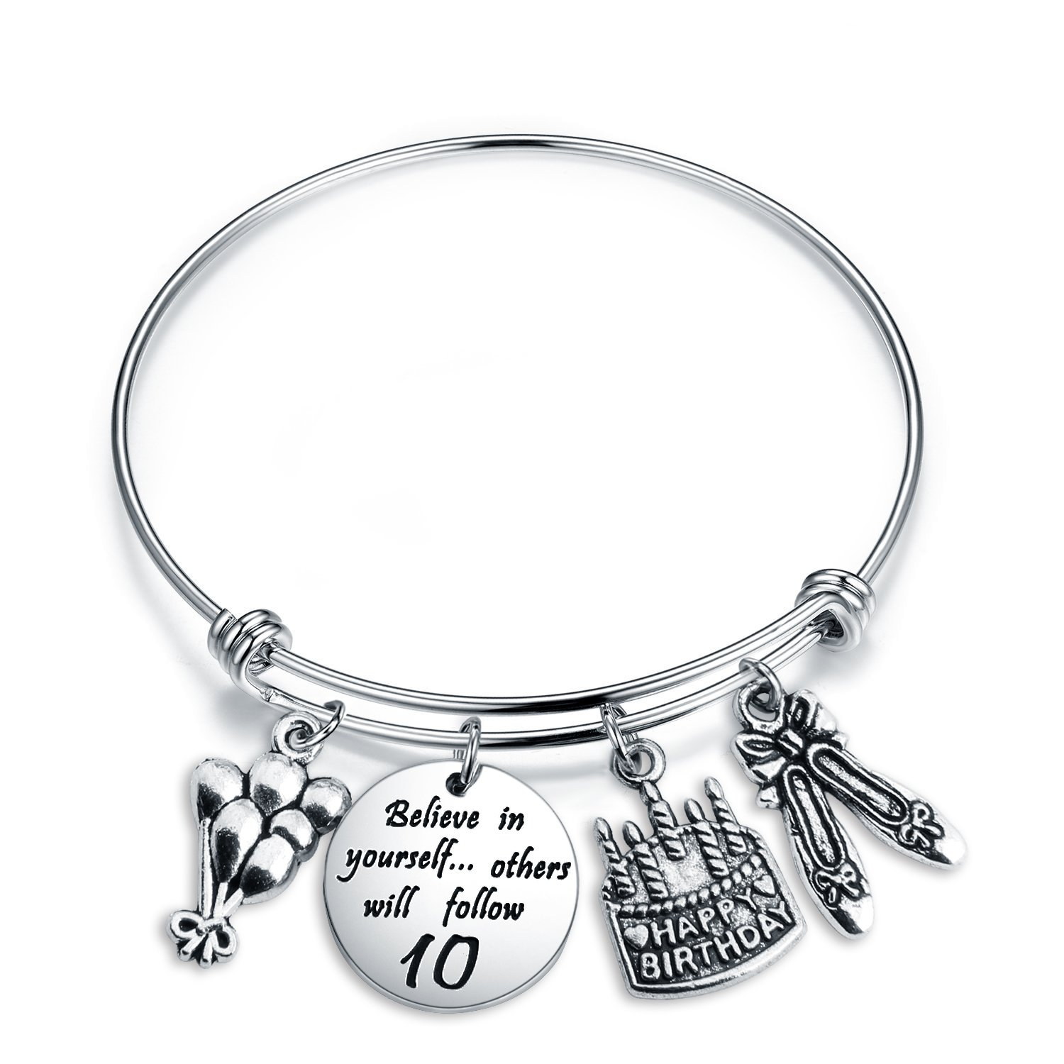 ENSIANTH Birthday Gift for Her Adjustable Birthday Bracelet Bangle with Birthday Cake Charm,10th 12th Sweet 16th 18th 21st 30th 39th 40th 50th Bangle gift,Anniversary Gift