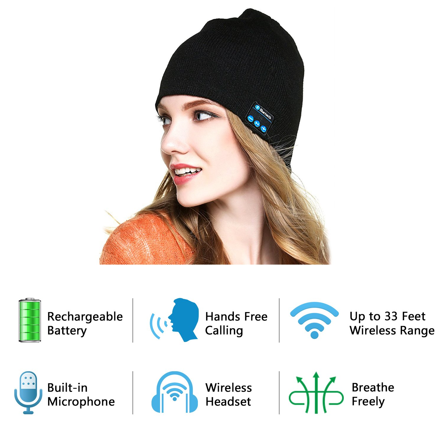 Dolida Bluetooth Wireless Music Beanie Hat Women Men Winter Knitted Hat Trendy Cap with Microphone & Stereo Headphones Headset for Sport Running Dancing, Built-in Mic Black (Best Christmas Gift)
