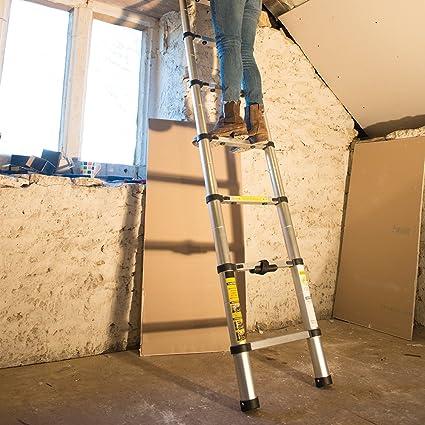 Silverline 452123 Escalera telescópica, Plata: Amazon.es: Bricolaje y herramientas