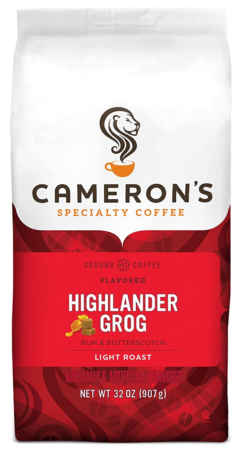Cameron's Coffee Roasted Ground Coffee Bag, Flavored, Highlander Grog, 32 Ounce (Pack of 1) (PP-GRCE22903)