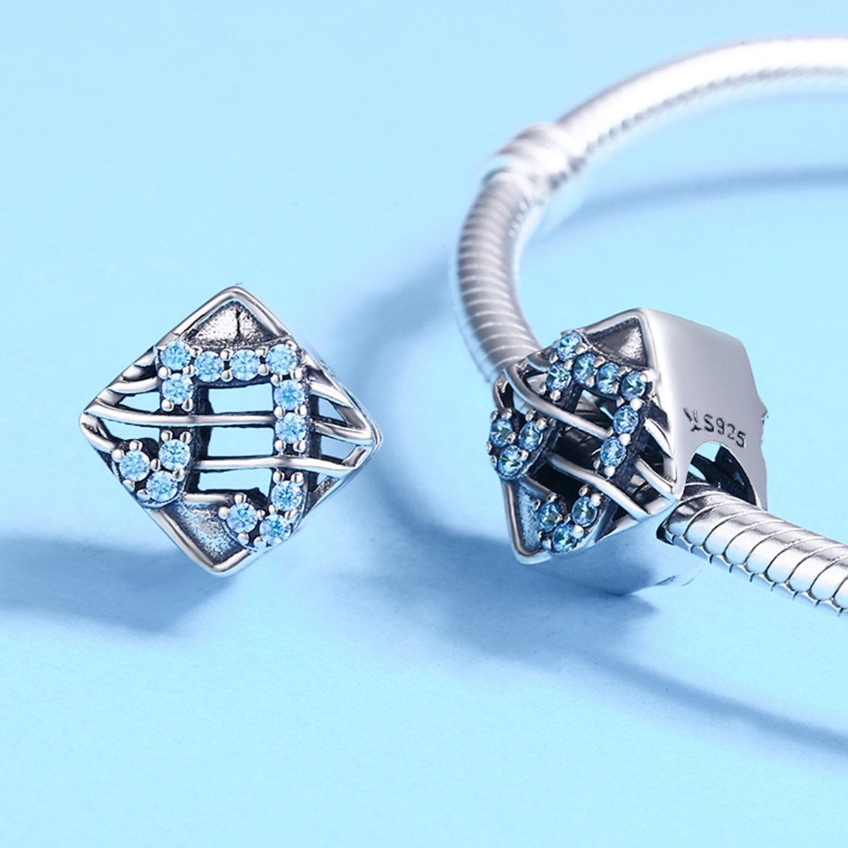 Soulove Music Dynamic Notes Square Bead 925 Sterling Silver Bead For Snake Chain Charm Bracelet