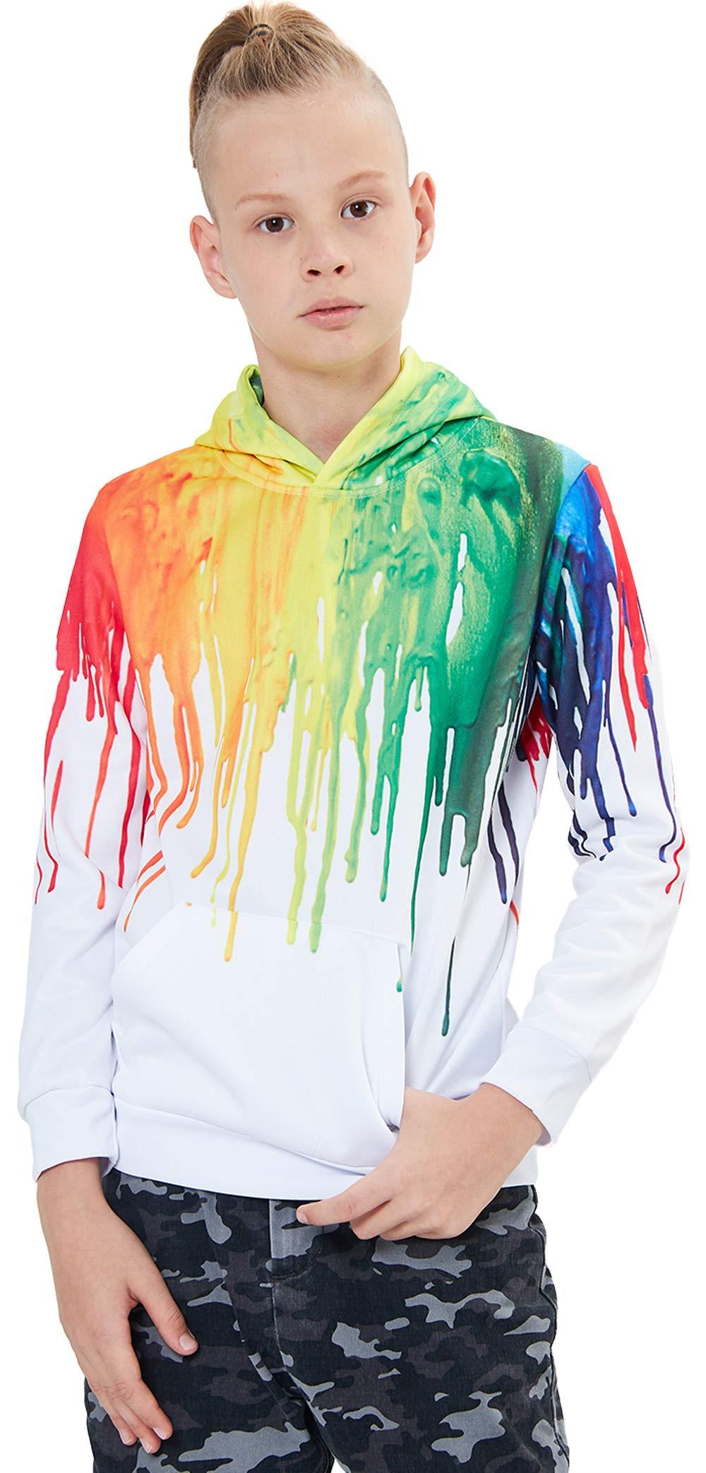 UNICOMIDEA Kid Boy Hoodies Sweatshirt Digital 3D Rainbow Printing Pullover Casual Long-Sleeve Jacket with Pocket Size M