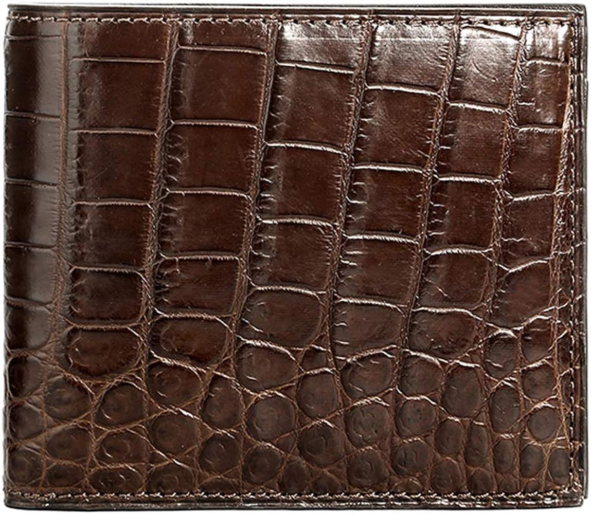 100/% Genuine Alligator Crocodile Skin Bifold Leather Mens black wallet