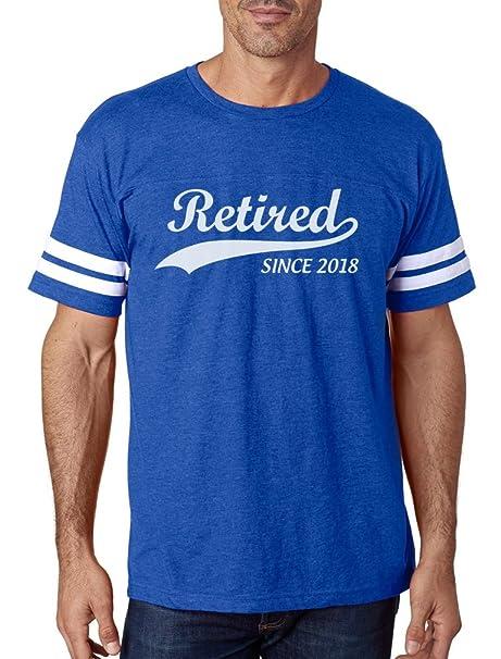 TeeStars - Retired Since 2018 - Retirement Gift Idea Football Jersey T-Shirt  Small Blue 108989cbb