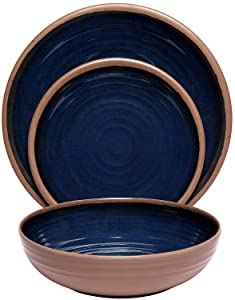 Melange 12-Piece 100% Melamine Dinnerware Set (Clay Collection) | Shatter-Proof and Chip-Resistant Melamine Plates and Bowls | Color: Navy | Dinner Plate, Salad Plate & Soup Bowl (4 Each)