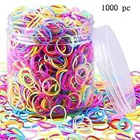 Godea 1000pièces Multicolore Bandes en caoutchouc Petite Candy Couleur Cheveux Bandes Cheveux élastique avec boîte pour bébé fille