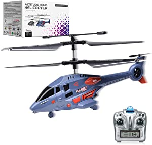 MDGZY Remote Control Helicopter with Gyro 2.4GHz LED Light,3.5 Channel Altitude Hold Helicopter, One Key Take Off/Landing, Indoor Drones RC Helicopter Toy Gift for Boys Kids Adult, Blue