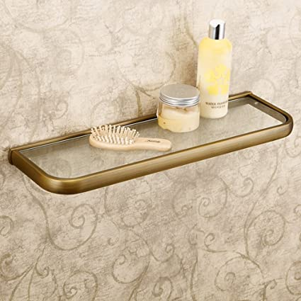 Leyden Retro Bathroom Accessories Solid Brass Antique Brass Finished Glass  Bathroom Shelf Towel Holder Towel Bars