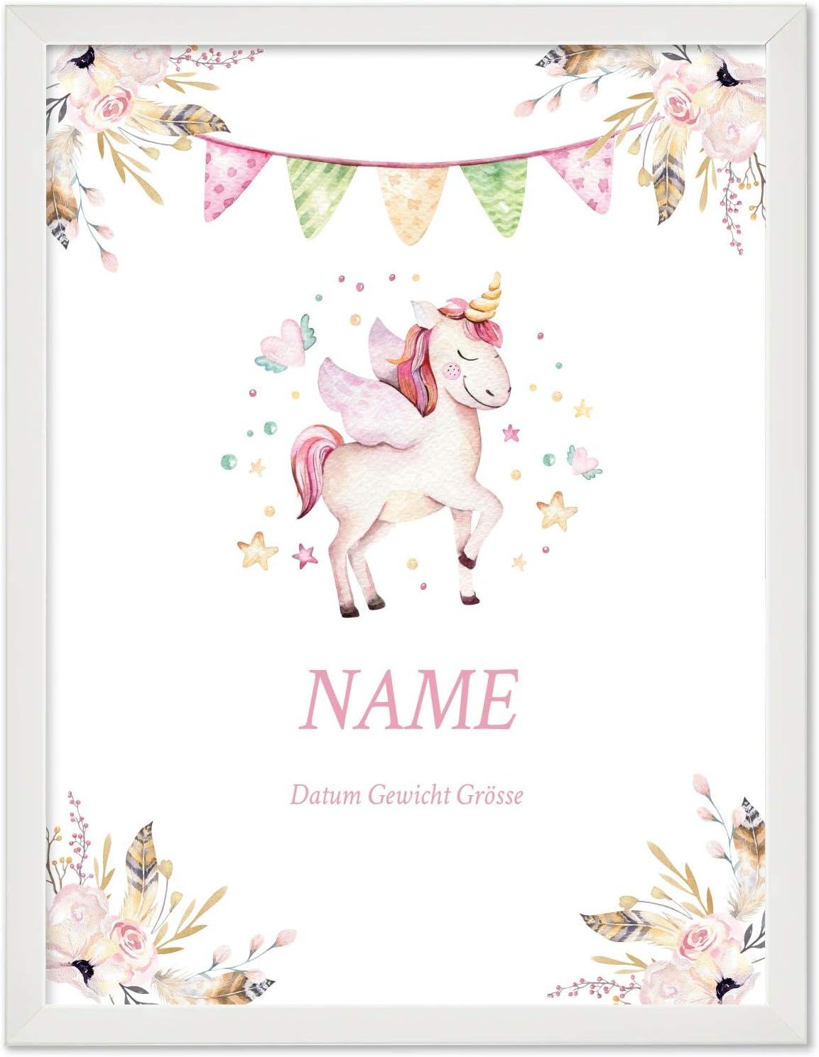 zur Baby Geburt oder Taufe wei/ß Poster 40x30 cm mit Wunsch-Name und Datum Personalisiertes Geschenk BILD MIT RAHMEN Motiv Einhorn f/ür M/ädchen