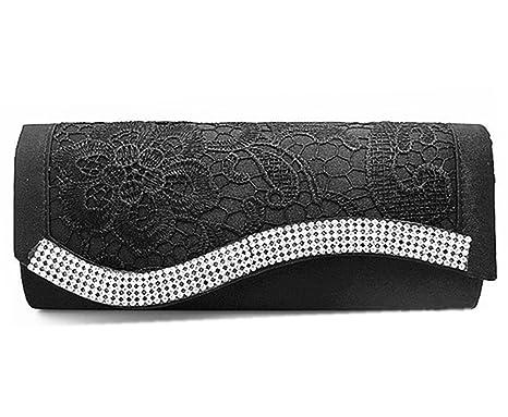 Clorislove Ladies Lace Crochet Satin Diamante Evening Clutch Bag