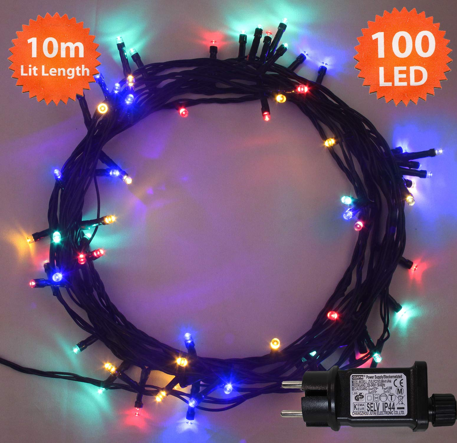 538bd925485 Luces de hadas de Navidad 100 LED Multicolor luces de árbol de interior y  al aire libre de luces de cadena de Navidad 10m 33ft iluminado longitud con  cable ...