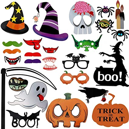 Halloween Photography Decoration, Photo Booth Props Kit Create Funny and Happy Halloween Pose Sign-Trick or Treat Party Supplies (27-Pack)