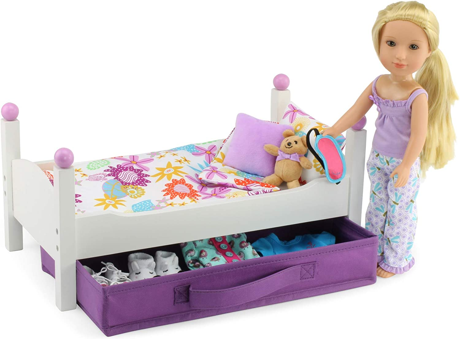 Classic White Single Stackable 14 Doll Bed Emily Rose 14 Inch Doll Bed Fits 14 American Girl Wellie Wishers and Glitter Girls Dolls Includes 1 Set of Colorful 4 Piece Bedding