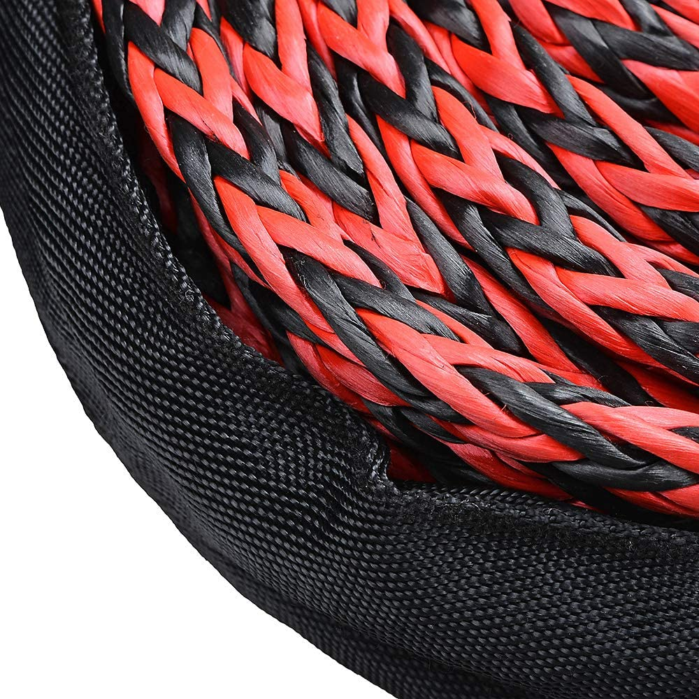 Astra Depot USA 92ft x 1//2 Red/&Black SK75 Synthetic Winch Rope 22000LBs Protective Sleeve Clevis Sling RED Hook for Jeep ATV UTV KFI Truck Boat Ramsey