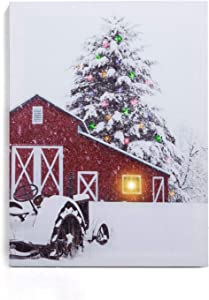 """NIKKY HOME 16"""" x 12"""" Christmas LED Lighted Canvas Wall Art Prints Red Snowy Barn House Tree Picture Winter Scene for Holiday Decor, Snow House"""