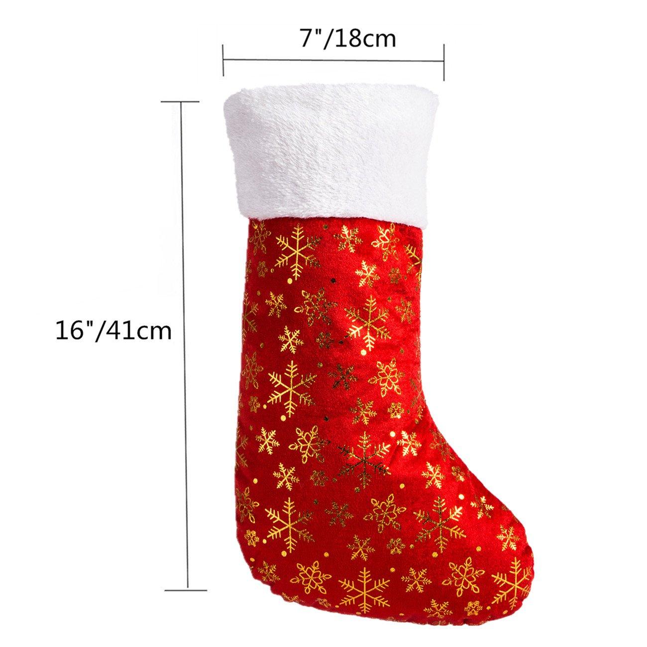 "Amazon.com: SANNO 16"" Red Christmas Stockings, Classic Craft Socks ..."