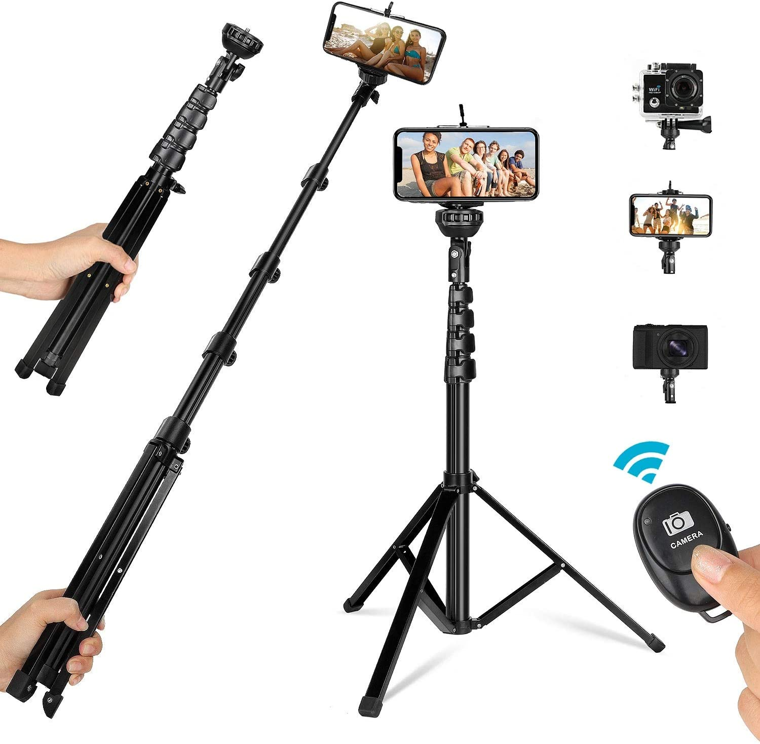 Camera /& Cell Phone Tripod Stand Compatible with iPhone Android Samsung Phones DSLR Action Camera All-in-One Extendable Selfie Stick Tripod with Wireless Remote 62 Phone Tripod